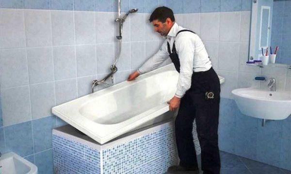 Замена акрилового вкладыша в ванну